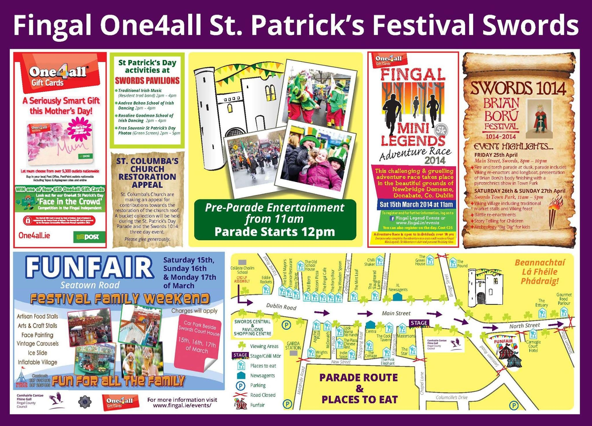 Map for parade route in Swords
